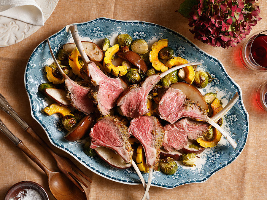 Rack of Lamb With Maple-Roasted Brussels Sprouts, Delicata Squash, and Pears