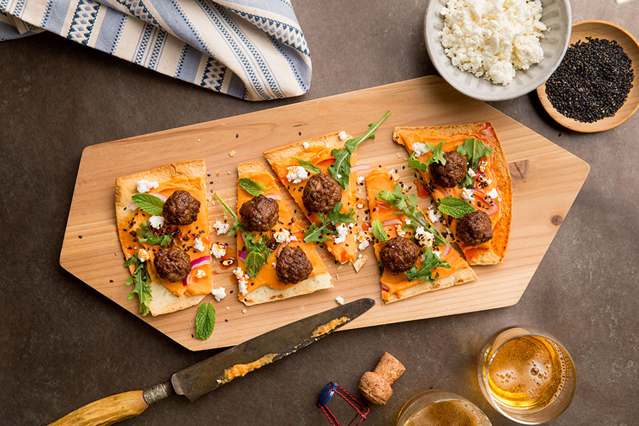Spicy Lamb Meatball Flatbreads with Sweet Potato Puree